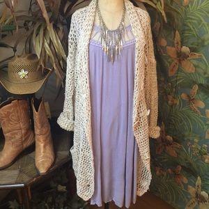 FP lavender gauze dress w/open work neckline- S